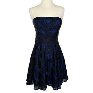 bebe Strapless Lace Overlay Mini Dress Size 4